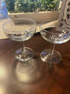 Pair of Sweetheart Toasting Champagne Glasses for Wedding, Bride and Groom