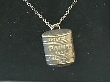 """Paint Pot TG28 Pewter On 18"""" Silver Plated Curb Necklace"""