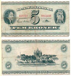 DENMARK 5 Kroner (1957) Pick 42, Fine  *RARE*