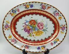 "Vintage Daher England colorful metal tin pink purple floral platter tray 13.25"""