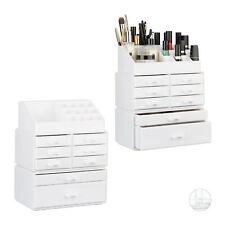 2 x Make Up Organizer Acryl, Kosmetikregal Schubladen, Schminkaufbewahrung weiß