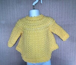 Handmade Crochet Child's Sweater with Curved hem - Age 1 To 2 Years