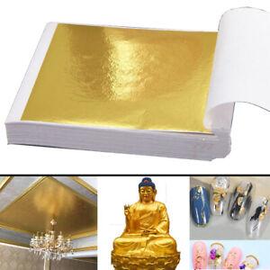 300pcs Sheets Gold Silver Leaf Foil Paper 9x9cm Gilding Art DIY Food Craft Decor