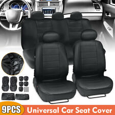 9PC PU Leather Car SUV Seat Cover Front Rear Full Set Cushion Protector 5 Seats