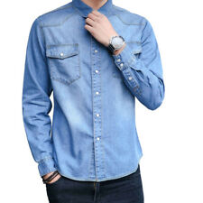 New Style Mens Casual Long Sleeves Denim Washed Button Down Cotton Shirts