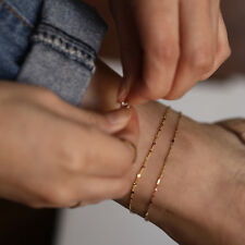 Chain Anklet, 14K Solid Gold Anklet Singapore Chain with Bar Detail, Gold
