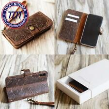Leather Iphone X Wallet Case Handmade Wristlet Iphone X Cover Tooled Flower Brow