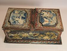 More details for rare antique huntley & palmer double flip top lid floral biscuit tin  c.1900