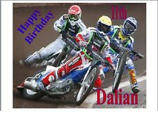 "Speedway Bikes Personalised A4 Icing Sheet 10""x8"" Cake Topper"