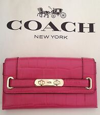 COACH 53963 Swagger Crocodile Embossed Leather Wallet  Dahlia W/Gift Box NWT