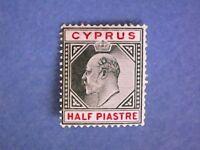 Cyprus. 1902 KEVII ½pi Green & Carmine. SG50. Wmk Crown CA. P14. LMH.