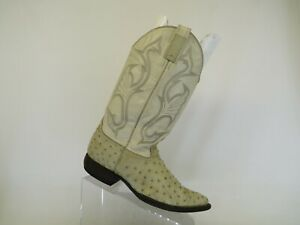 Cream Leather Ivory Full Ostrich Quill Cowboy Western Boots Mens Size 7.5 D