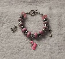 UNIQUE European BEADED BRACELET Pink SAXOPHONE charm + Musical Notes