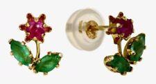 Pendientes de joyería con gemas rojo de oro amarillo