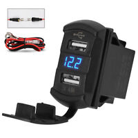 Square Fast Charger Socket w/ Dual USB Charger for 12V/24V Car RV Marine Campers