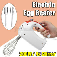 200W Electric Egg Beater Hand Mixer Stainless Steel Whisk Milk Cooking