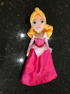 "Disney Store Princess Aurora Sleeping Beauty 11"" Plush Doll Pink Dress"