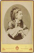 PHOTO GRANDE CDV CABINET PORTRAIT FEMME MILANESE pendentif LUIGI MONTABONE 1870