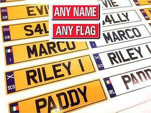 KIDS PERSONALISED NUMBER PLATES FOR TOY RIDE ON CARS TRUCKS JEEPS 140mm x 35mm