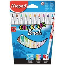 Maped Brush Pens Fibre Tip Felt Tip Pens Color Peps Brush Assorted Wallet of 10