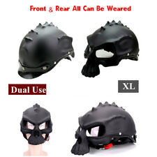Motorcycle Helmet Dual Use Skull Motorradhelm Motorbike Casque (XL) Matte Black