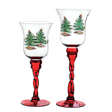 Spode Christmas Tree Glass Fluted Footed Candle Holders Set of 2
