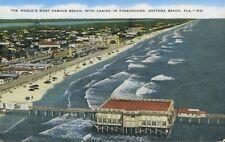 Daytona Beach FL Fla Florida Aerial View Famous Beach Vintage Linen Postcard E5