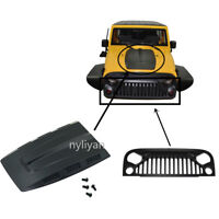 Cool Nylon Angry Eyes Grill & Engine Cover Hood For 1:10  RC Jeep Wrangler Body