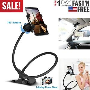 360 Clip On Cell Phone Holder Mount Car Bed Table Desk Long Arm Flexible Stand
