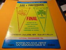 European Cup Final Football League Fixture Programmes