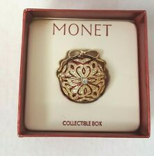Monet 2003 Red & Gold + Crystals Hinged Enamel Trinket Pill Box Jewelry Ornament