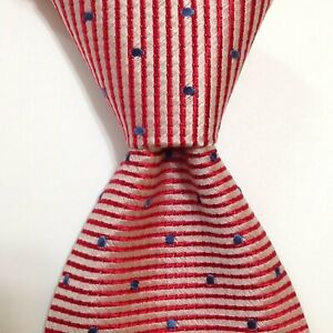 BRUNPER Silk Necktie ITALY Designer STRIPED POLKA DOT Red/Pink/Blue EUC Rare