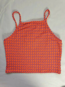 Topshop Size 14 BNWT Orange & Purple Crop Cropped Holiday Festival Top