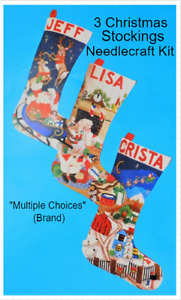 3 Christmas Stockings Embroidery Craft Kit NEW Needlepoint Cross Stitch Vintage