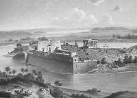 EGYPT View Island of Philae Nile River- 1860 SCARCE Engraving Print