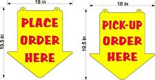 "PLACE ORDER HERE & PICK UP ORDER HERE SIGNS PLEXI GLASS ARROW SIZE 19.5"" X 18"""