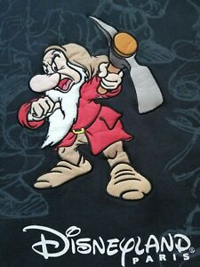 Grumpy Men Hoodie Embroidered Size XL Black Disney Parks Pre-Owned