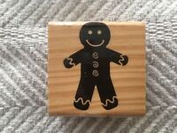 Recollections Gingerbread Man Wood Mounted Rubber Stamp EUC! Never Inked!