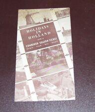 NETHERLANDS RAILWAYS HOLIDAYS IN HOLLAND COMBINED SEASON TICKET LEAFLET 1949