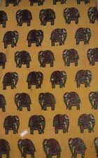 Cotton kalamkari block print fabric - 100 cms length by 43 Elephants Yellow bas