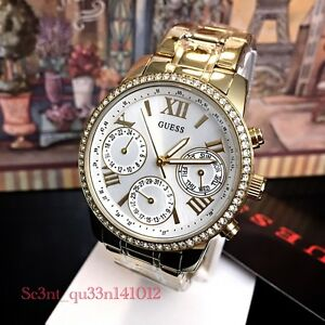 AUTHENTIC GUESS LADIES' MINI SUNRISE WATCH STONE GOLD Brand New RRP:$349 W0623L3