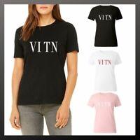 VLTN T-Shirt Tops Teens Women White Black Pink Casual Short Sleeve Cotton Dress