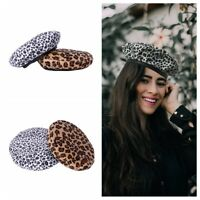 Fashion Women Beanie Beret Winter Warmer French Artist Hats Ski Caps Leopard