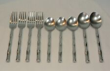 Oxford Hall BAMBOO Stainless Flatware 9 Piece Set Forks Soups Teaspoons
