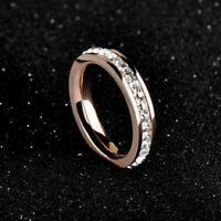 Sz3-10 CZ Steel Titanium Band Wedding Stainless Silver/Gold Men/Womens Ring
