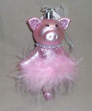 "5"" tall pink glitter plastic pig ballerina Christmas Ornament in marabou tutu"