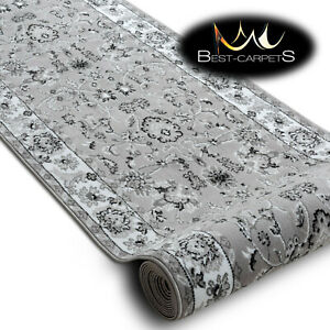 Modern Hall Carpet Runner BCF ANNA Tradition grey 60-120cm extra long RUG Stairs
