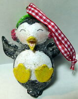 Christmas Penguin Ornament glittered and ear muffs 3""