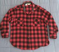 Vtg LL Bean Thick Wool Hunting Lumberjack Buffalo Check Shirt Jacket USA L XL