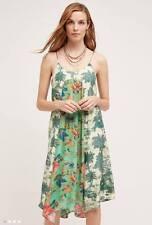 NWT SZ L $178 ANTHROPOLOGIE SANTEE SWING DRESS BY MAEVE : BLUE GREEN FLOWERS